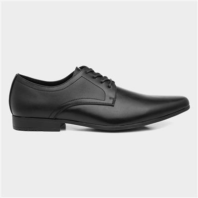 Mens Black Flat Lace Up Shoe