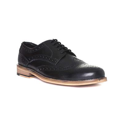 Mens Leather Lace Up Brogue in Black