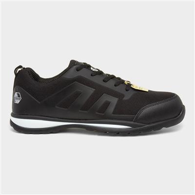 Mens Lace Up Black Safety Shoe