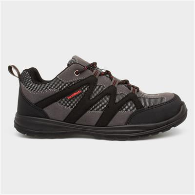 Mens Grey Lace Up Safety Shoe