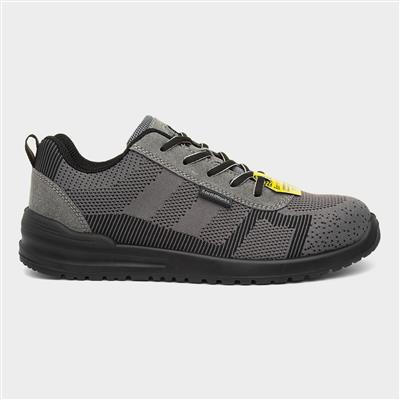 Mens Lace Up Grey Safety Shoe