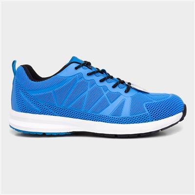 Mens Blue Lace Up Safety Trainer