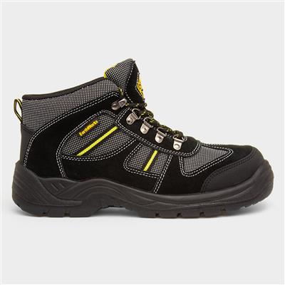 Mens Black Leather Safety Boot