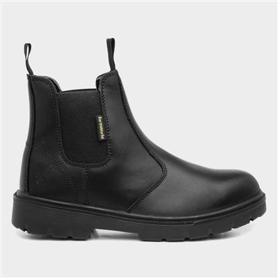 Mens Black Leather Chelsea Safety Boot