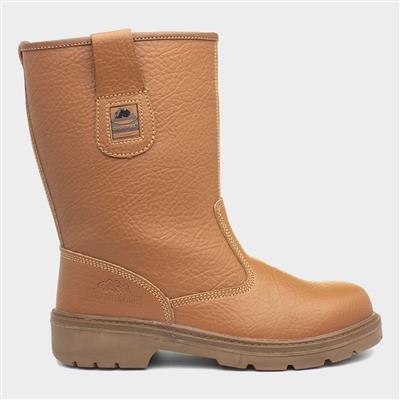 Adults Tan Leather Safety Rigger Boot