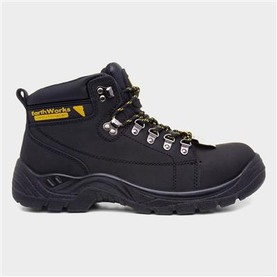Mens Lace Up Black Safety Boot