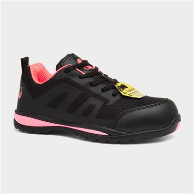 Womens Black & Pink Safety Shoe