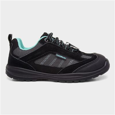 Womens Black Lace Up Safety Shoe