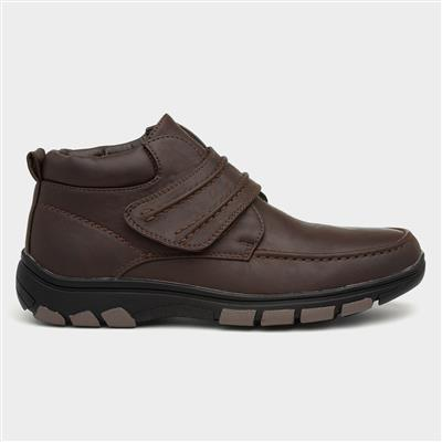 Mens Brown Easy Fasten Ankle Boot