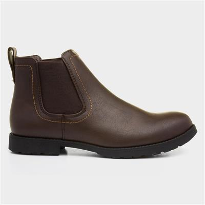 Mens Brown Pull On Chelsea Boot