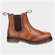 Amblers Mens Dalby Pull On Brogue Boot in Tan (Click For Details)