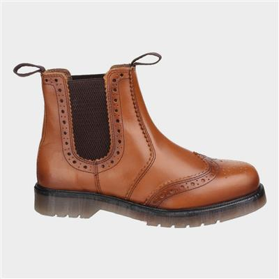 Mens Dalby Pull On Brogue Boot in Tan