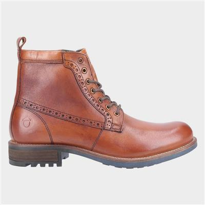 Dauntsey Mens Leather Lace up Boot in Tan