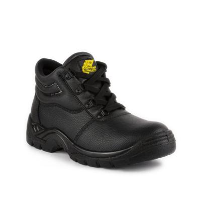 Mens Black Coated Leather Safety Boot