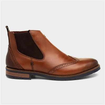 Mens Tan Leather Ankle Boot