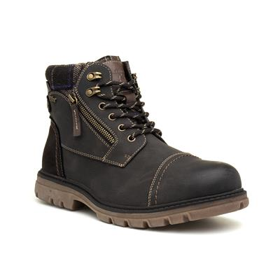 Mens Dark Brown Lace Up Ankle Boot
