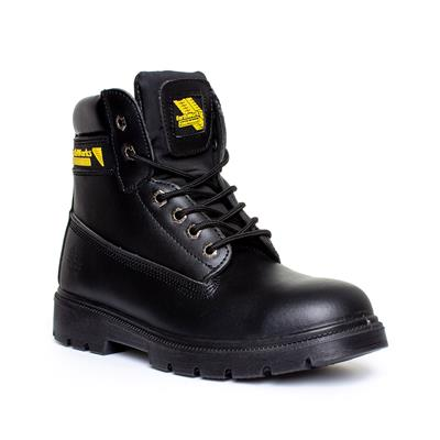 Mens Lace Up Safety Boot in Black