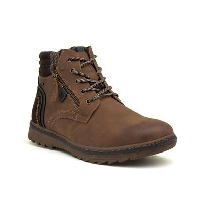Cognac Mens Lace Up Brown Ankle Boot