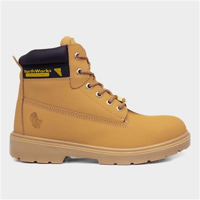 Mens Lace Safety Ankle Boot in Honey