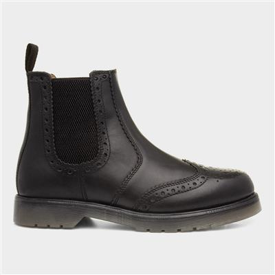 Mens Black Brogue Leather Chelsea Boot