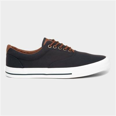 Navy Mens Lace Up Canvas Shoes