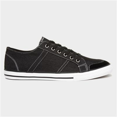 Russell Mens Black Canvas Lace Up Shoe