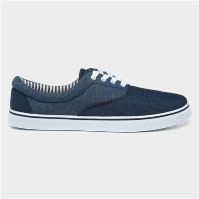 Mens Blue Two Tone Lace Up Canvas