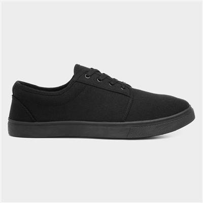 Mens Lace Up Canvas Shoe in Black