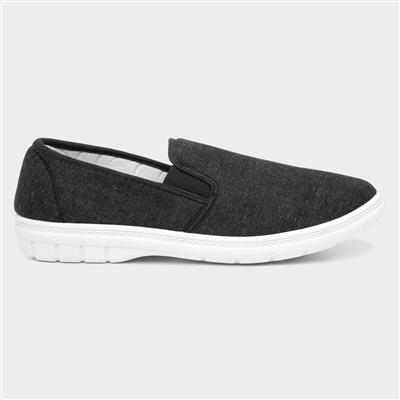 Mens Twin Gusset Canvas Shoe in Charcoal