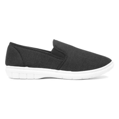 hobos mens twin gusset canvas shoe in charcoal59306