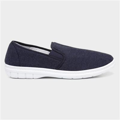 Mens Twin Gusset Canvas Shoe in Blue