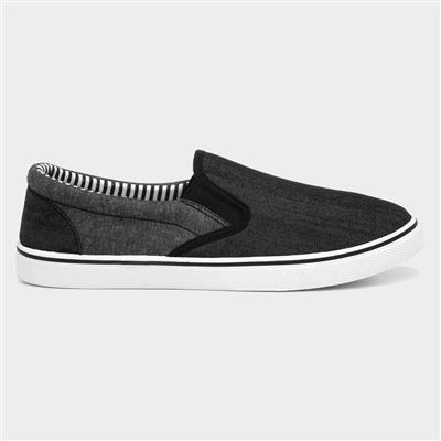 Mens Black and Grey Slip On Canvas