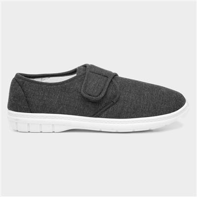 Mens Dark Grey Touch Fasten Canvas