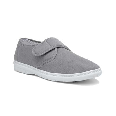 Mens Grey Easy Fasten Canvas
