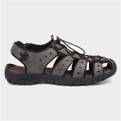 Mens Brown Closed Toe Sandal