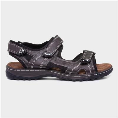 Mens Brown Contrast Easy Fasten Sandal