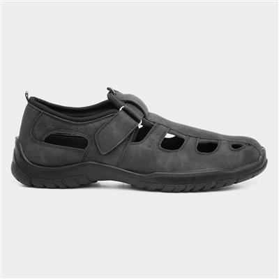 Mens Black Easy Fasten Closed Toe Sandal