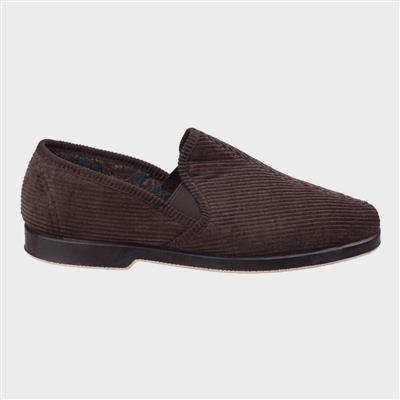 Exeter Mens Twin Gusset Slipper in Brown