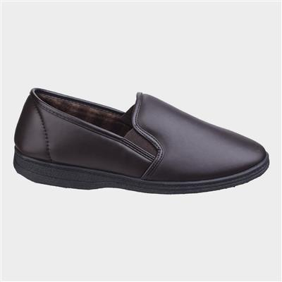 Mens Visa Twin Gusset Slipper in Brown