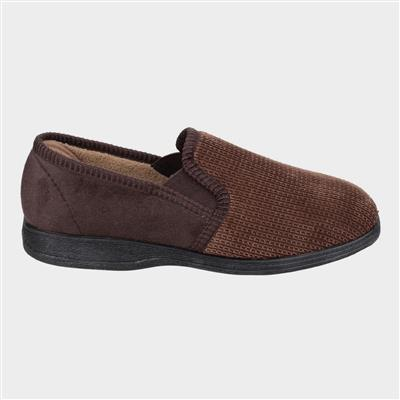 Mens Tim Twin Gusset Slipper in Brown