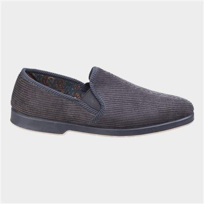 Exeter Mens Twin Gusset Slipper in Grey