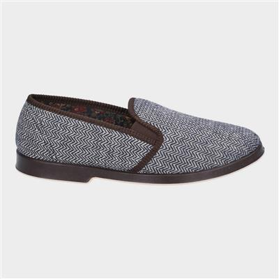 Mens Stafford Twin Gusset Slipper in Brown