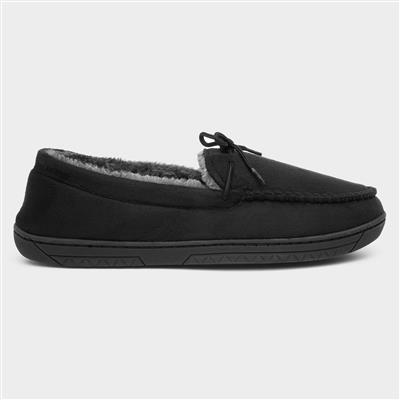 Mens Moccasin Slipper in Black