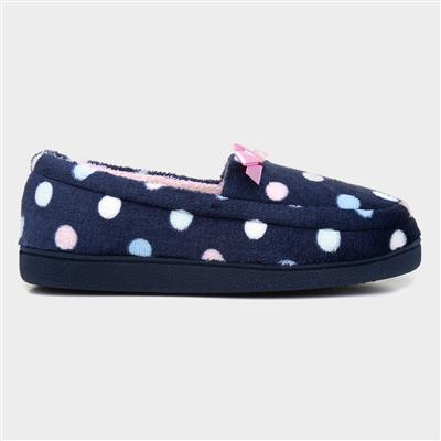Womens Navy Moccasin