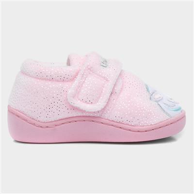 Kids Pink Easy Fasten Unicorn Slipper