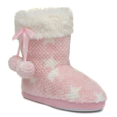 Girls Pink Star Bootie Slipper