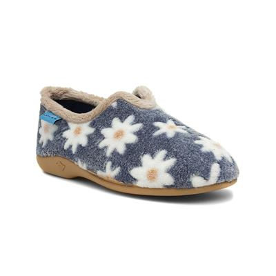 Daisy Womens Blue Floral Full Slipper
