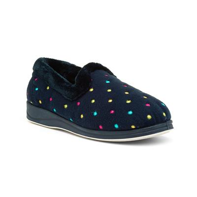 Repose Womens Navy Polka Dot Full Slipper