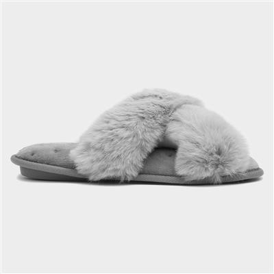 Womens Tan Faux Fur Mule Slipper