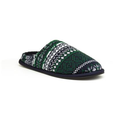 Mens Fair Isle Green & Navy Mule Slipper